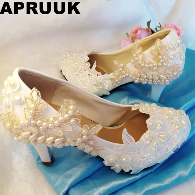323f7a0d3 White champagne wedding shoes woman round toes platforms high heels bridal  shoes ladies sweet lace pearls party pumps shoes