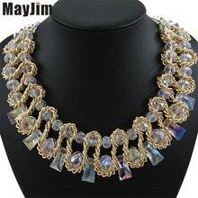 Collar de la declaración 2017 de la vendimia cadena de oro weaving geométrica grande crystal choker collares y colgantes mujeres bijoux moda boho