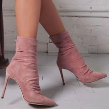 VOGELLIA جديد النساء حذاء من الجلد النساء أشار تو عالية الكعب الأحذية مثير خنجر مضخات أسود أحمر وردي Bootie حذاء امرأة OL