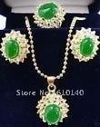 3 шт. зеленый ювелирные изделия ожерелье кулон серьги ring8 комплект