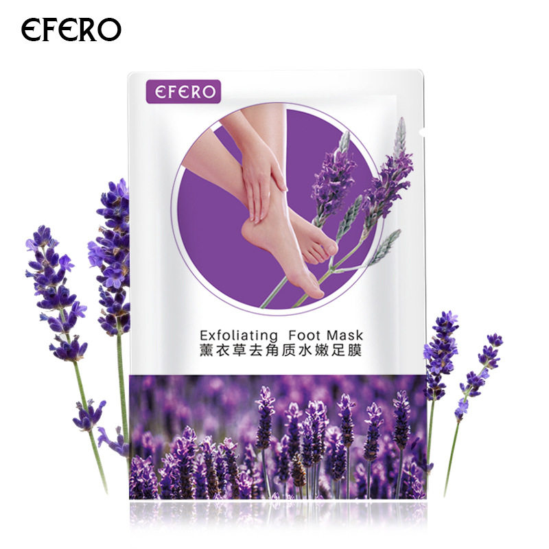 Efero 2pcs/pair Lavender Foot Mask Socks Remove Dead Skin Exfoliating For Pedicure Baby Feet Masks For Legs Cream For Heel TSLM2