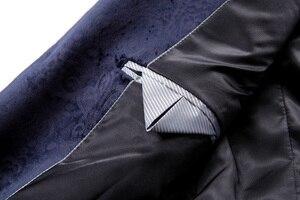 Image 5 - PYJTRL זכר רטרו בציר חיל הים כחול פרחוני הדפסה מזדמן קטיפה בלייזר Homme עיצוב Casacas גברים מעיל Slim Fit חליפת מעיל