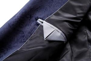 Image 5 - PYJTRL ชาย Retro VINTAGE สีน้ำเงินลายดอกไม้พิมพ์สบายๆกำมะหยี่ Blazer Homme ออกแบบ Casacas เสื้อผู้ชาย SLIM FIT สูทแจ็คเก็ต