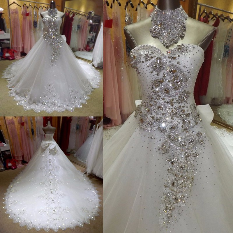 New Bridal Wedding Gown Centre: 2017 New White Bling Tulle Crystal A Line Wedding Dress