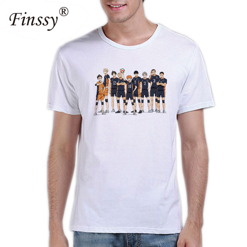 Hot Anime Haikyuu! Print T shirt for Men Karasuno High School Cosplay Costume Summer Style