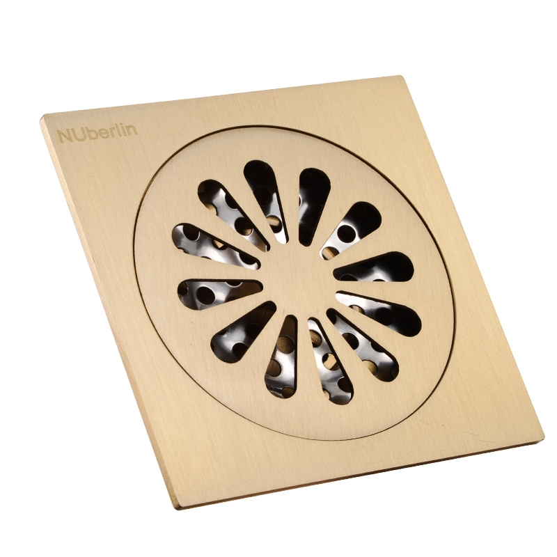 ФОТО High-end Gold Solid Brass 4 inch 100*100mm Square Deodorant Bath Floor Drain Shower Waste Water Drainer