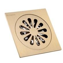 Высокого класса золото твердой латуни 4 дюймов 100 * 100 мм площадь дезодорант ванна трапных душ сточных вод осушитель