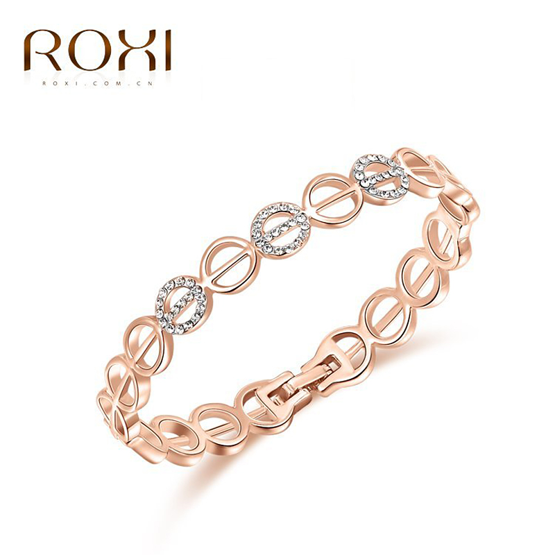 ROXI fashion new women bracelets,gold plated women jewelry,Austrian crystal,wedding/birthday/Chrismas gifts,party bracelets, circle