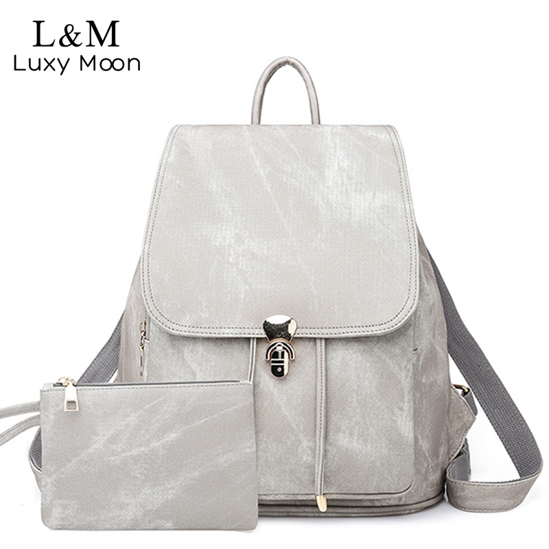 Women's Backpacks High Quality PU Leather Backpack Female Solid School Bags For Girl Vintage Mochilas 2Pc Casual Rucksack XA506H
