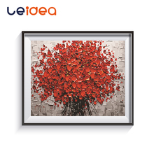 DIY Red Rose Flower Digital Painting By Numbers Linen Paint Abstract Modern Wall Art Hand Canvas For Home Decor