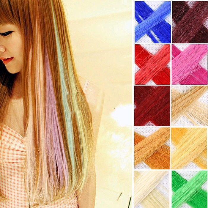 Hair Extension 20 Neon Clip In Long Fake Synthetic Rainbow