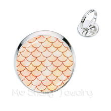 Handmade Glass Dome Rings Mermaid Fish Scale Pattern Classic Adjustable Rings Silver/Golden Plated Rings For Gift(China)