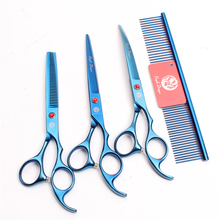 Z3003 4Pcs 7 Blue Steel Comb + Cutting Shears Thinning Scissors Down Curving Professional Pets Hair Suit