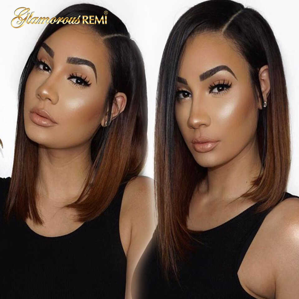 Hair Ombre Golden Brown Lace Front Human Hair Wigs for  Women Short Straight Brazilian Bob Wig Natural Hairline Preplucked