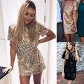 С коротким Рукавом Твердого Блестками Dress Женщины Стильный Черный Розового Золота Office Dress 2017 Новый Тонкий Мини Office Dress Robe Femme клубная одежда