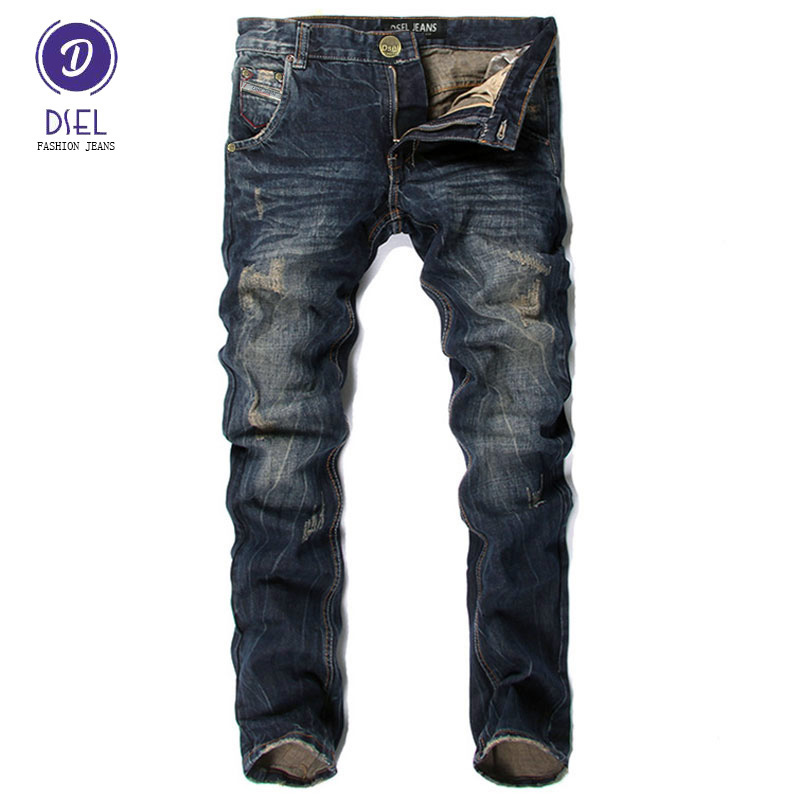 цена на Italian Style Men Jeans DSEL Brand Slim Fit Stripe Jeans Mens Pants Fashion Street Biker Jeans Men Retro Vintage Design Trousers