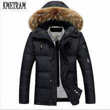 36aa18ca051 KMETRAM 2018 nuevo grueso por los hombres chaqueta caliente con Cuello de  piel de los hombres Parka Pluma Hombre más el tamaño d.