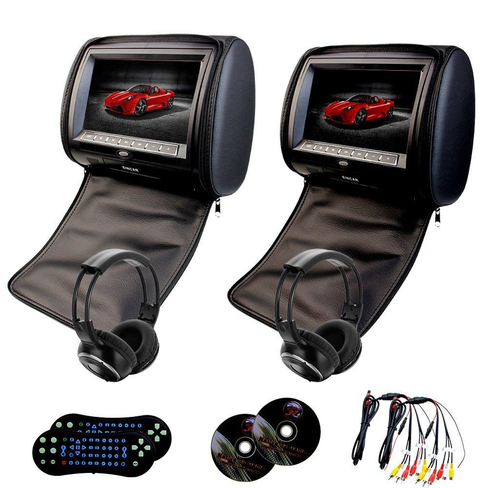Headrest Pillow 2pcs LCD Screen Digital Car Monitor DVD player USB IR FM Transmitter Pillow Monitor video player+2 IR headphones pair of 9 car headrest cd dvd player with tft lcd digital screen auto monitor support usb ir fm transmitter two 2 ir headphone