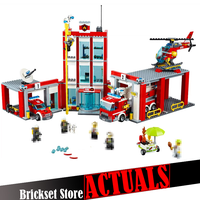 In Stock The Fire Station Lepin 02052 1029Pcs City Set Compatible with 60110 Building Blocks Bricks Educational Toys for kids lepin 02012 city deepwater exploration vessel 60095 building blocks policeman toys children compatible with lego gift kid sets