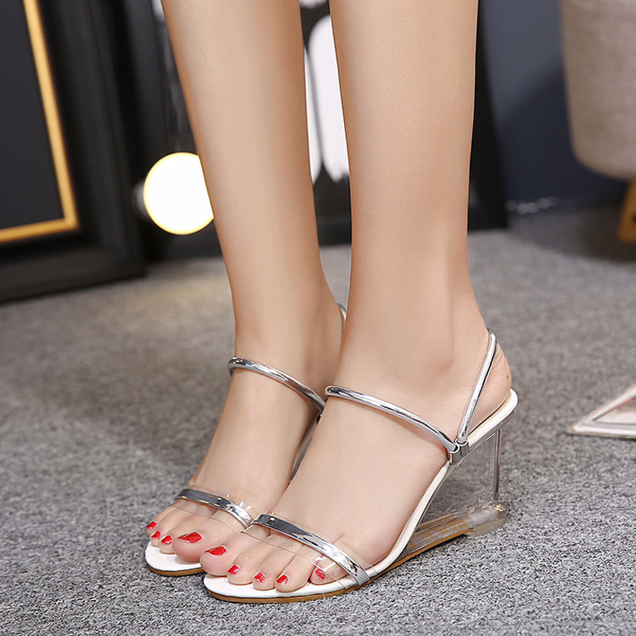 Dwayne 2018 new sexy crystal clear high heels shoes simple women slope transparent sandals womans slippersDwayne 2018 new sexy crystal clear high heels shoes simple women slope transparent sandals womans slippers