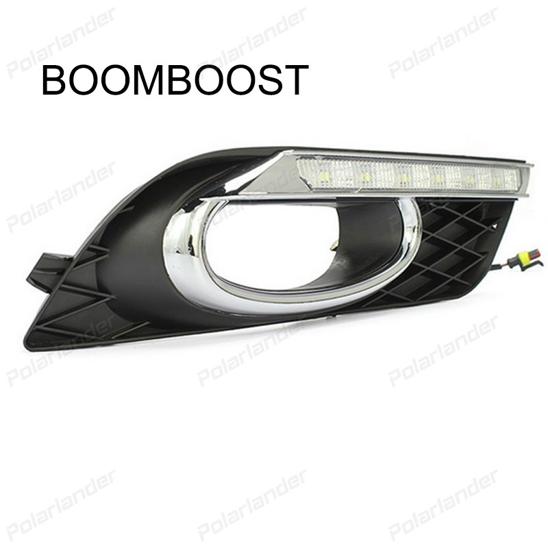 BOOMBOOST CAR DRL LED FOG LAMPS For  H/onda C/ivic 2011-2015 Car styling daytime running lights boomboost 2pcs car accessory led for h onda f it or ja zz 2014 2015 car stylng daytime running lights