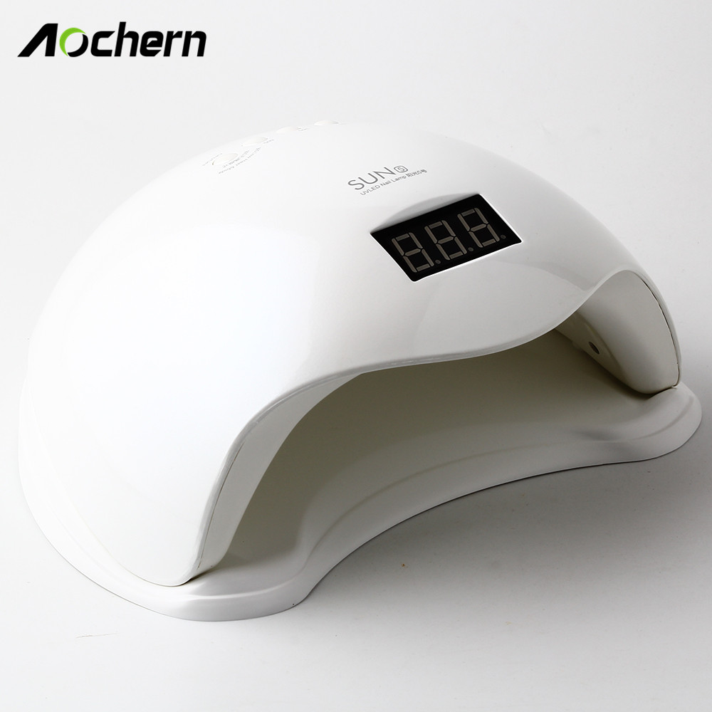 Aochern SUN5 48W  Nail Dryer Polish Machine  for Curing  Art Tool Timer LCD display UV lamp LED nail lamp for gel varnish 12w led nail dryer curing lamp machine nail art tool automatic timer for uv gel nail polish fast drying new style top quality