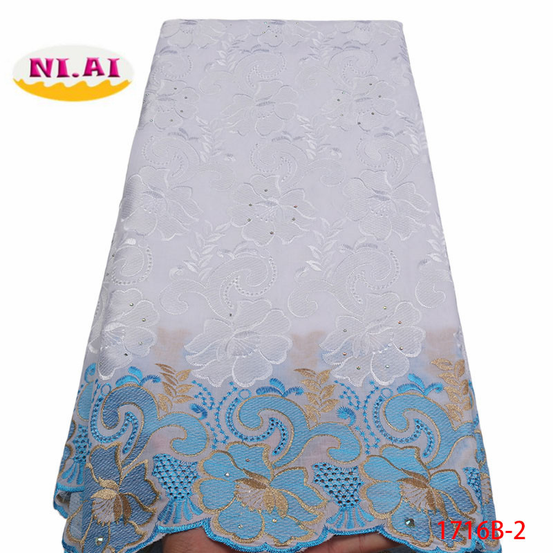 Image 2 - 2018 High Quality African Swiss Voile Lace Fabric With Stones Soft Embroidery Dry Voile Lace Materials In Switzerland XY1716B 1-in Lace from Home & Garden