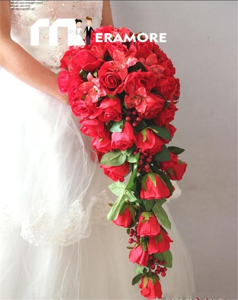 hot red waterfall wedding bouquets bridal flower new arrival artifical beach bridal bouquet de. Black Bedroom Furniture Sets. Home Design Ideas