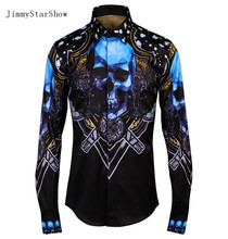 2017 New Cotton  Dress Shirts High Quality Mens Casual Shirt Men Blue Crystal Skull Gothic Wind Plus Size Slim Non-iron Shirts