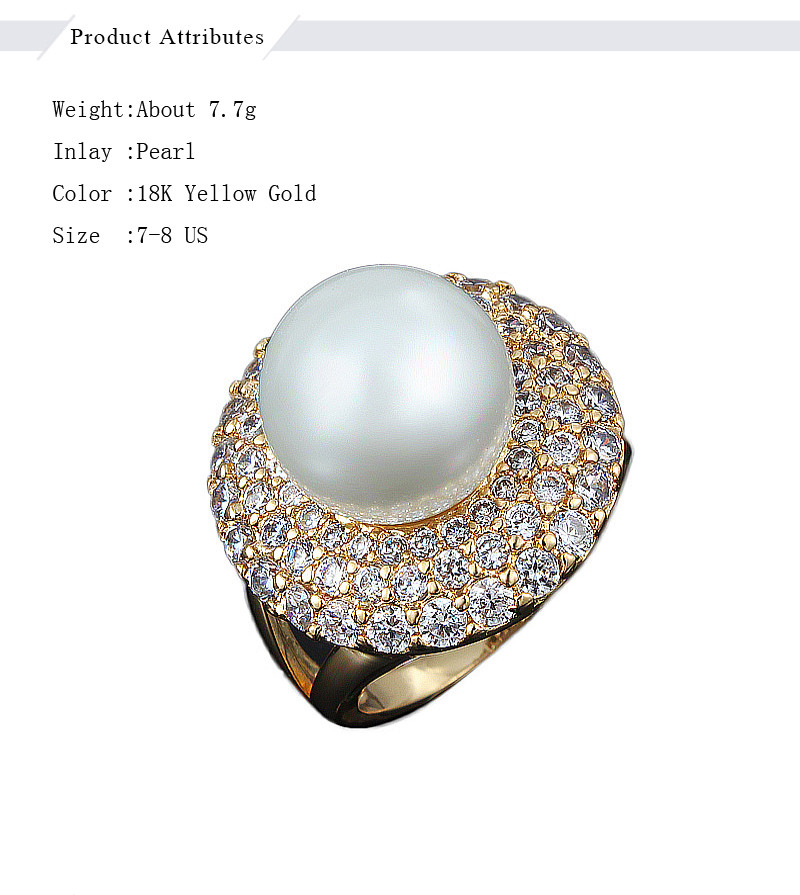 Hot Sell Dubai Rings Gold-color Big Freshwater Pearl For Women Classic  Silver AAA+Zircon Pave Setting Wedding Rings Gift 847c195ae5bd