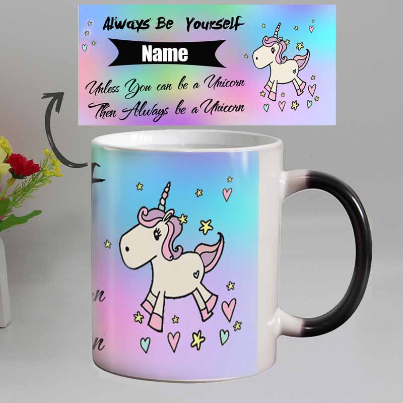 960937c90d0 DIY Photo Unicorn Color Changing Coffee Mug custom your Name on Magic  ceramic Tea cup best