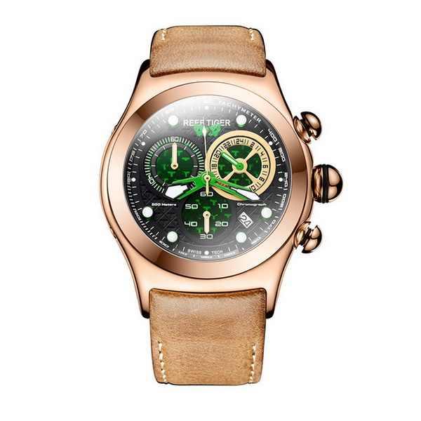 サンゴ礁虎オーロラserier bubbleii RGA782メンズスポーツクロノグラフダイヤルファッションクォーツ腕時計で100メートルwaterrpoof
