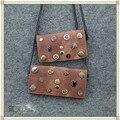 JC KIDS Baby Girls Rivet Message Bag INS Popular Badge Handbag Family Fitted Rectangular Coin Purse Children Fashion Chain Bag