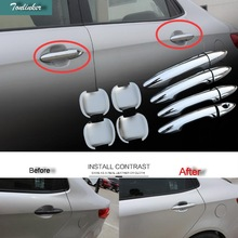 Tonlinker Cover Case Sticker For KIA K2 RIO 2011-16 Car Styling 4-8pcs ABS Mirror car door handle cover and bowl cover Sticker
