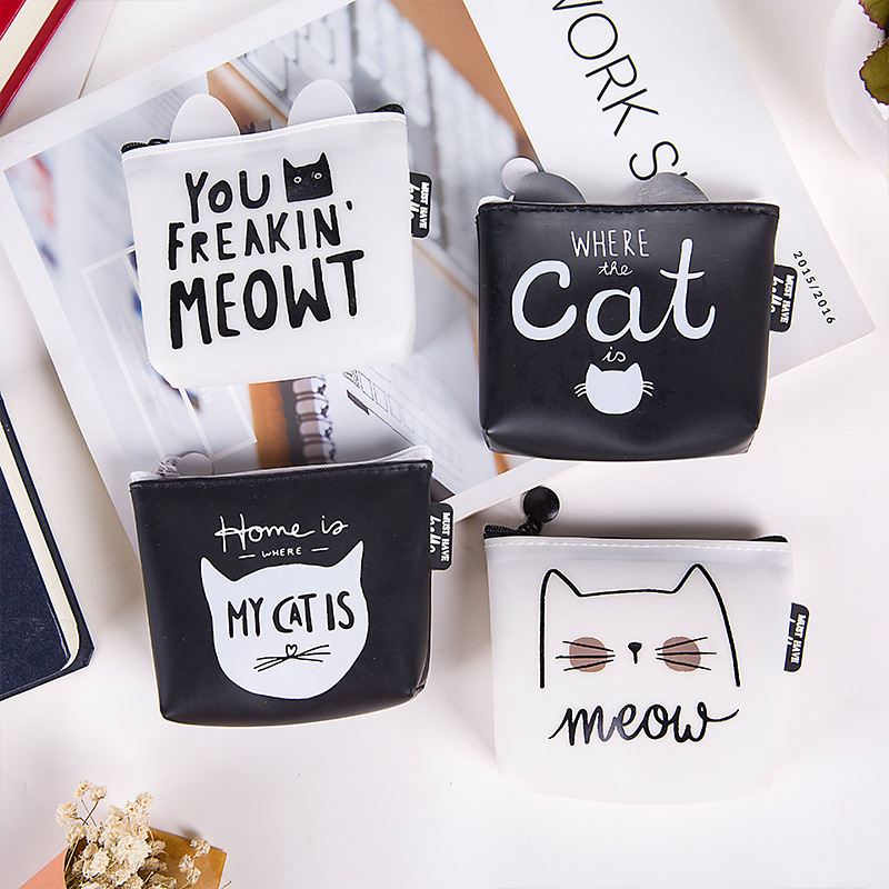PACGOTH Korean Cute Creative Silica Gel Square Coin Purse Unisex Animal Prints Zipper Cat Pattern Letter Kawaii Meow Cash Bags