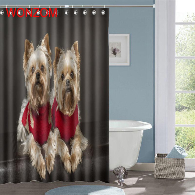WONZOM Cute Dog Polyester Fabric Cat Shower Curtain Bathroom Decor Waterproof Animal Cortina De Bano With