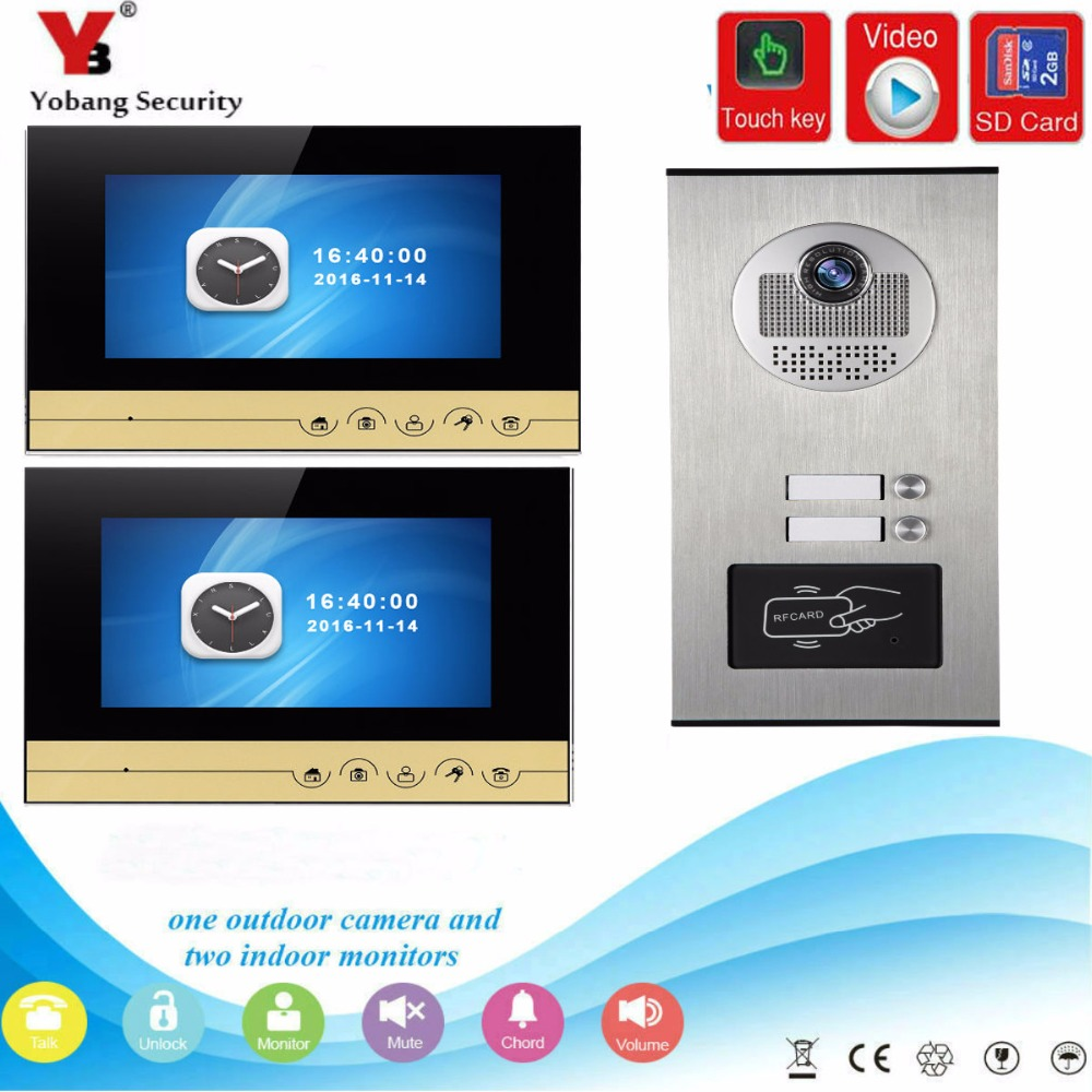 YobangSecurity 7 inch Wired Video Door Phone Doorbell Camera Intercom System RFID Access With Recording function for 2 Apartment yobangsecurity 7 inch wire video door phone doorbell intercom system waterproof outdoor camera with raincover intercom system