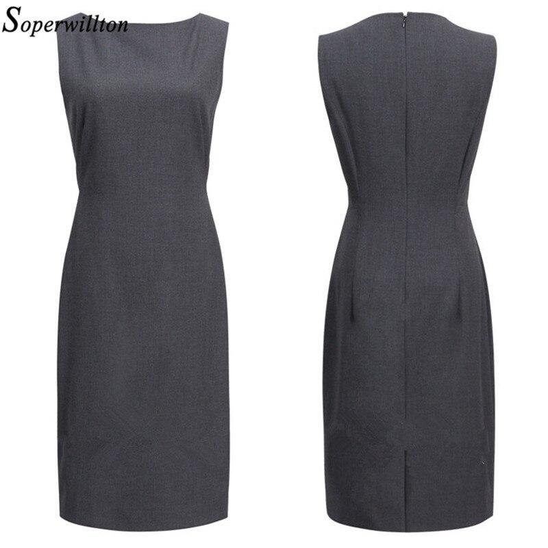 2019 New Summer Office Dress Women Elegant O-neck Sleeveless Knee Length Black Grey Wear to Work Sheath Ladies Dresses #BD725 3