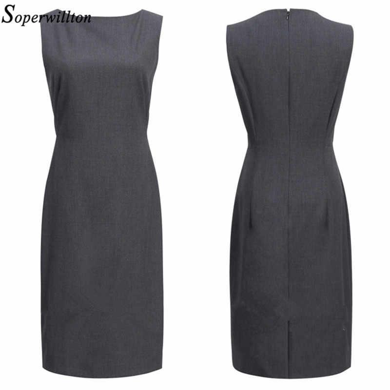 e81e0a3bc06 ... 2019 новое летнее офисное платье женское элегантное с круглым вырезом  без рукавов до колена черное серая ...