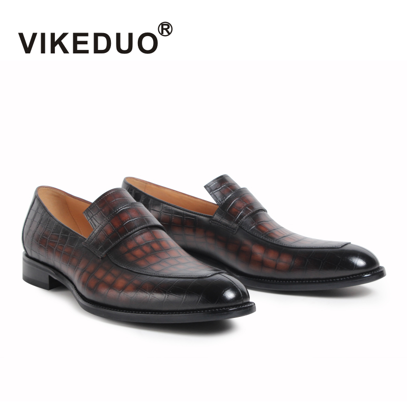 2018 Vikeduo Classic Retro Men's Loafer Shoes Handmade Custom Made 100% Genuine Leather Office Wedding Party Original Design new love live cosplay shoes sonoda umi lonelive anime party boots custom made