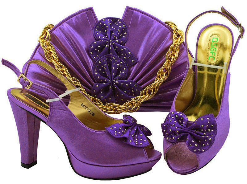 Purple Color Italian Shoes and Bags to match High Quality African Shoe and Bag Set for
