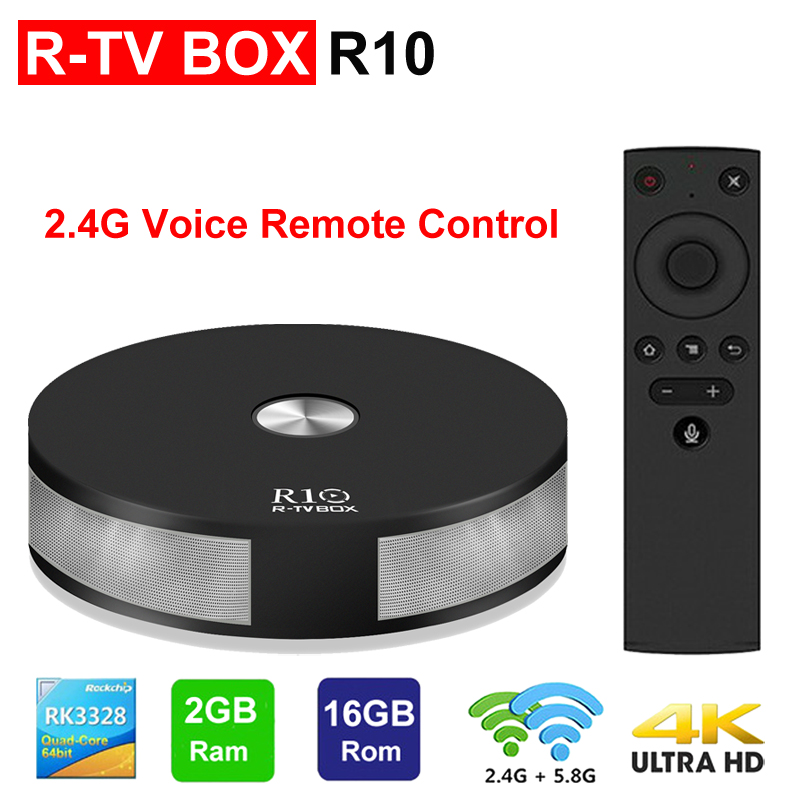 R10 Smart TV BOX Android TV RK3328 Quad Core 2 GB 16 GB 2.4G/5G double WIFI BT4.1 3D 4 K HDR USB3.0 avec télécommande vocale TV BOX