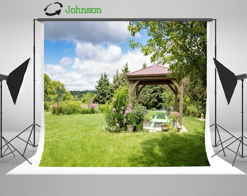 Blue Sky White Clouds Gazebo Garden Tree Grass background polyester or Vinyl cloth High quality Computer print wall backdrop