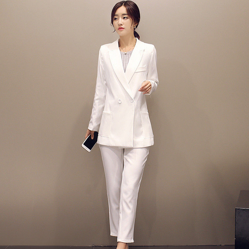Bespoke White Double Breasted Women Business Suits Formal Pants Suits For Weddings Tuxed ...