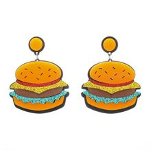 Hip Hop Fashion Acrylic Jewelry Hamburger Earrings Women Personality Food Long