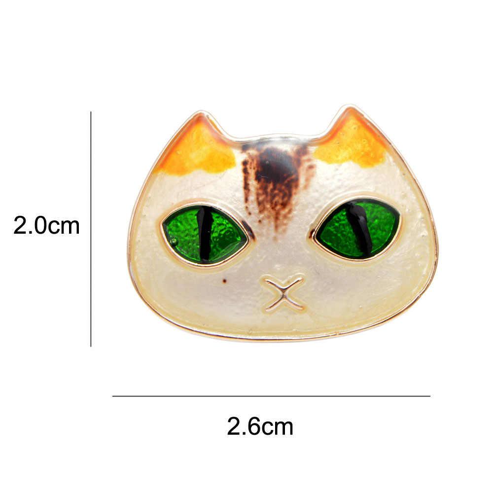 Cindy Xiang Tersedia 2 Warna Hijau Mata Kucing Bros untuk Wanita Karton Lucu Fashion Hewan Pin Elegan Anak Aksesoris Hadiah