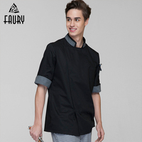 Stand Collar Half Sleeve Top Chef Work Jackets Breathable Casual Summer Restaurant Hotel Cooking Uniforms Catering Overalls XXXL