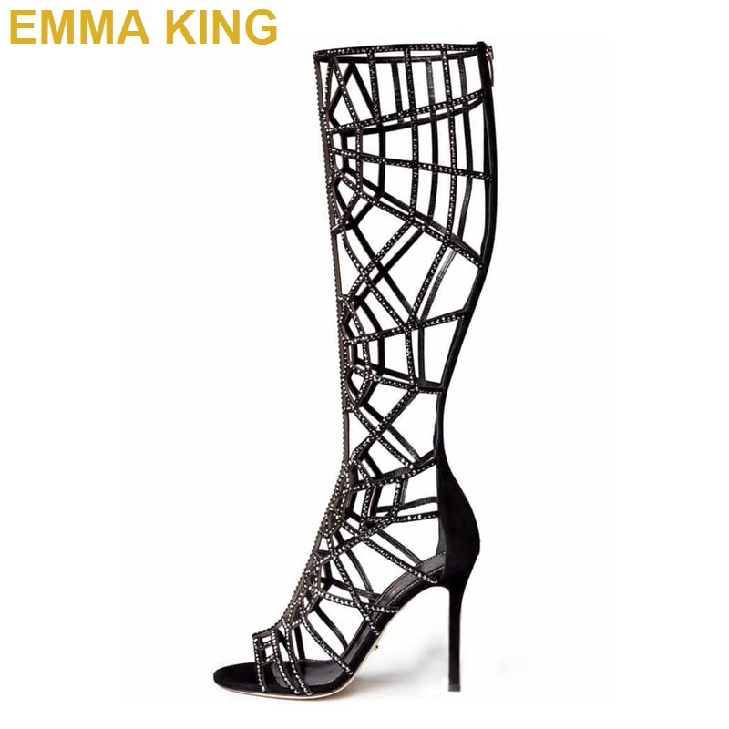 authorized site latest discount buying now Sexy Black Diamond Knee High Sandals Boots Women Stiletto High ...