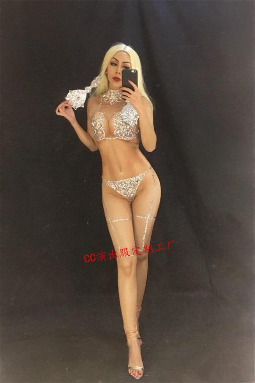 Chanteur Extensible Sexy Body Stage Danse Bling Salopette Nouveau Cristaux Nude De Tenue Porter Nu Femmes 2019 Costume YZwOqCn
