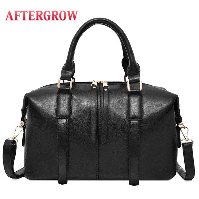 England Style Boston Bag Women Oil Wax Leather Totes Handbag Female Shouler Bag Designer Vintage Crossbody Bags For Ladies Sac 1